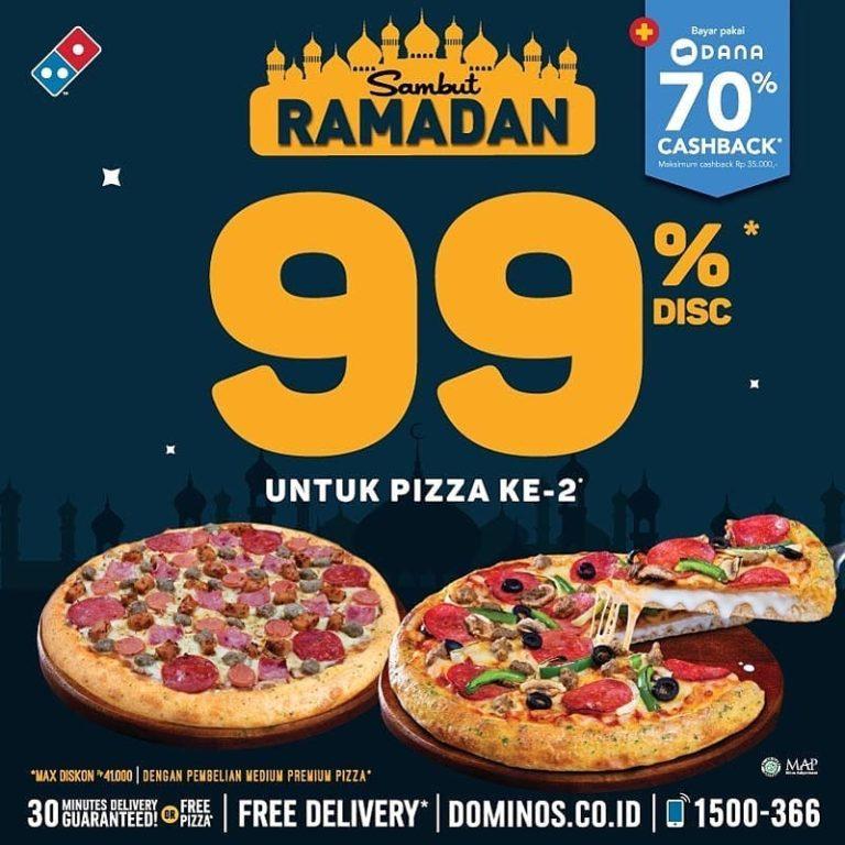 Diskon DOMINO'S PIZZA Promo SAMBUT RAMADHAN – DISKON 99% untuk Pizza ke 2