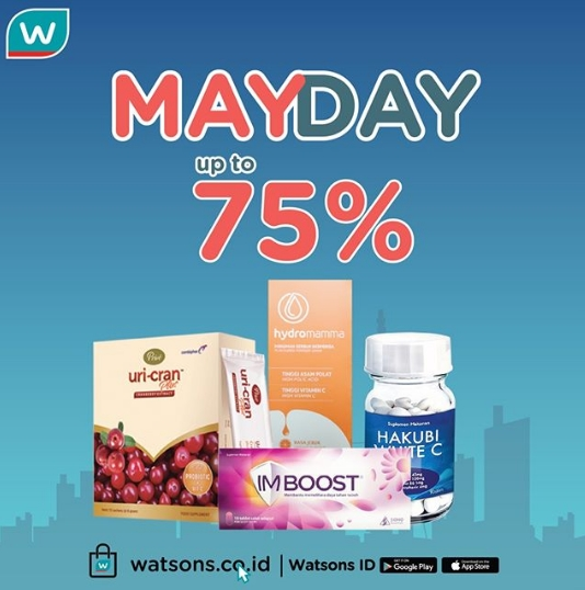 Diskon WATSONS Promo MAYDAY Up to 75%