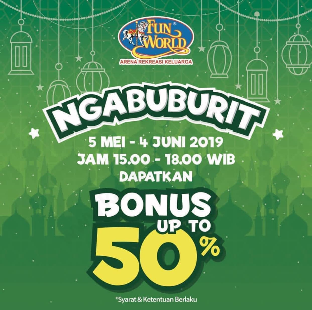 Diskon FUN WORLD Promo NGABUBURIT – Dapatkan Bonus Saldo up to 50%