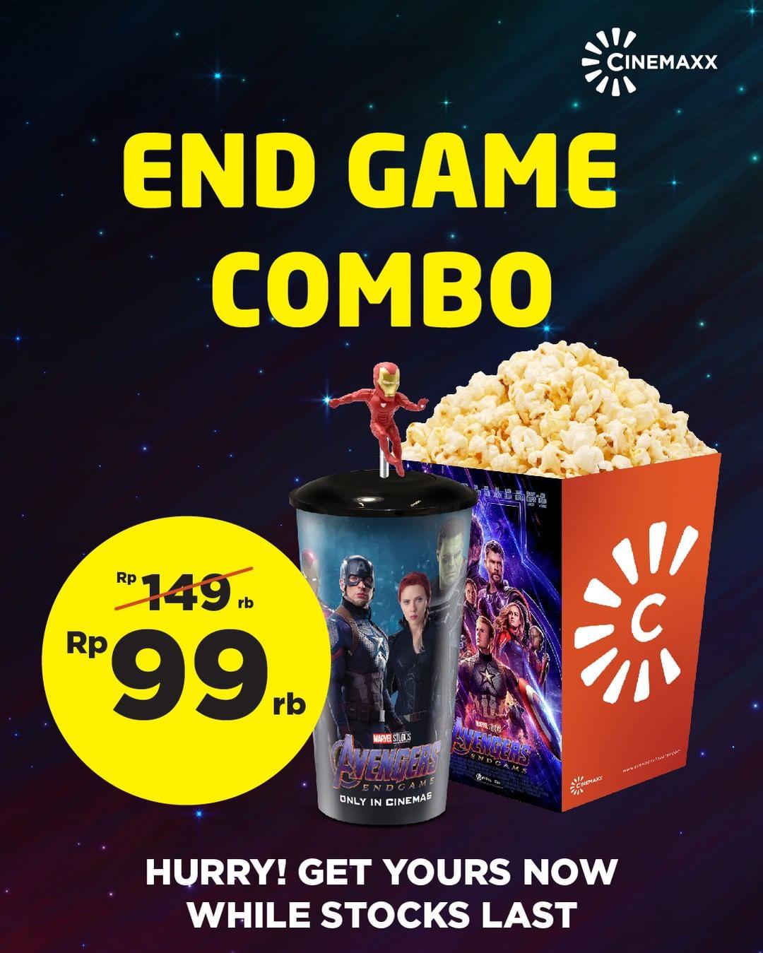 CINEMAXX NEW ENDGAME COMBO hanya seharga Rp 99,000