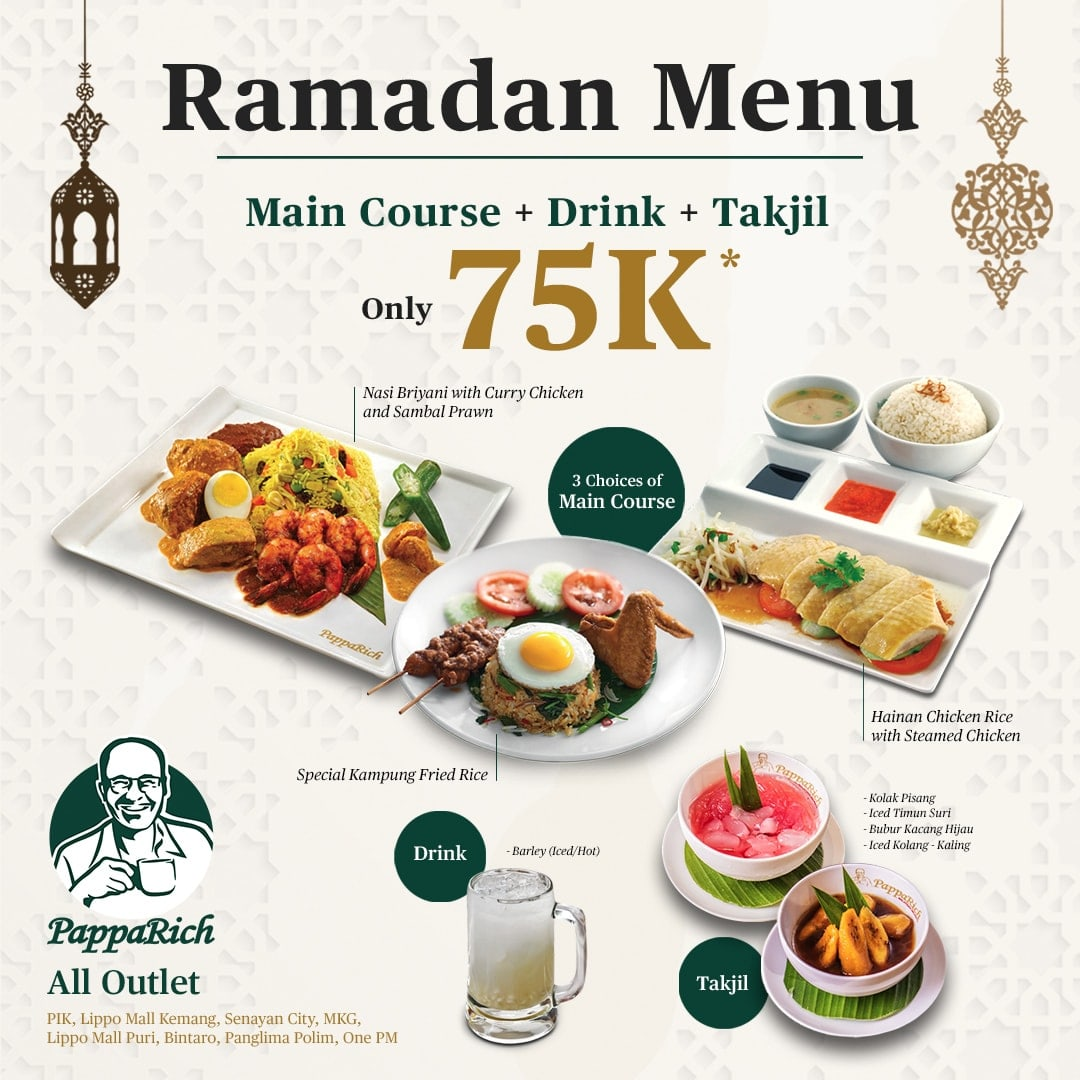 PappaRich Ramadan Menu – Main Course + Drink + Takjil Only Rp. 75.000