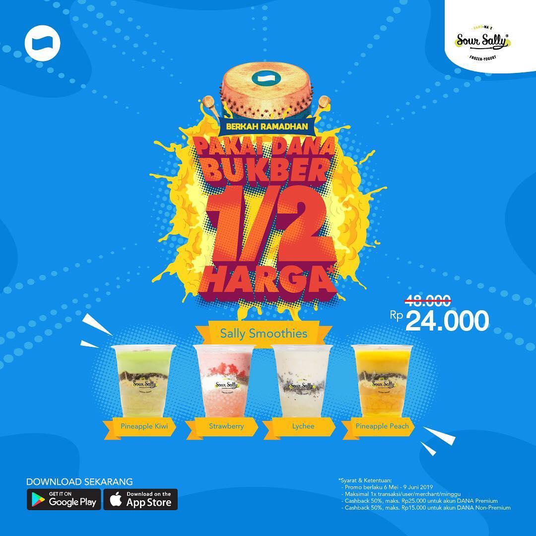 SOUR SALLY Promo BUKBER HEMAT – CASHBACK 50% untuk SALLY SMOOTHIES dengan DANA