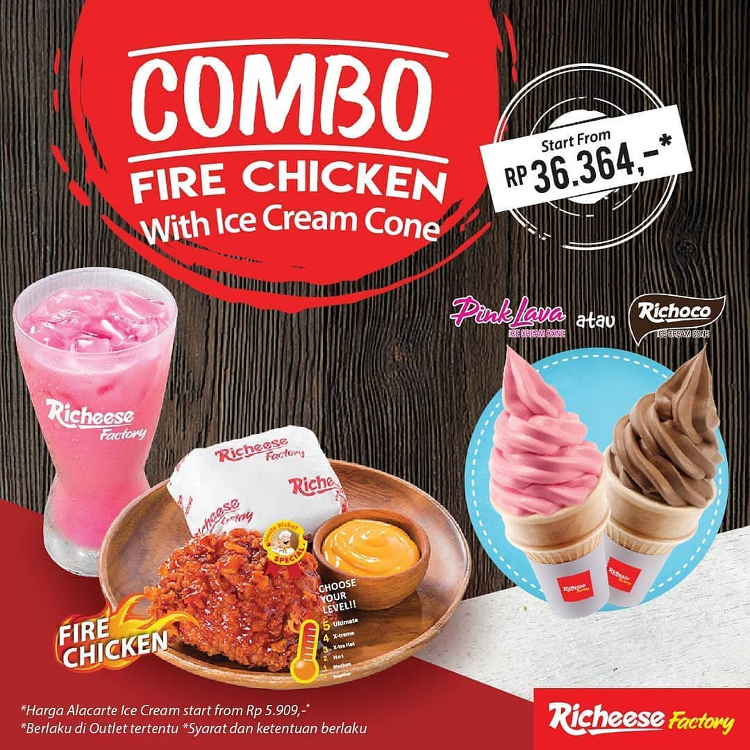 RICHEESE FACTORY NEW Combo Fire Chicken with Ice Cream Cone mulai Rp. 36.364*