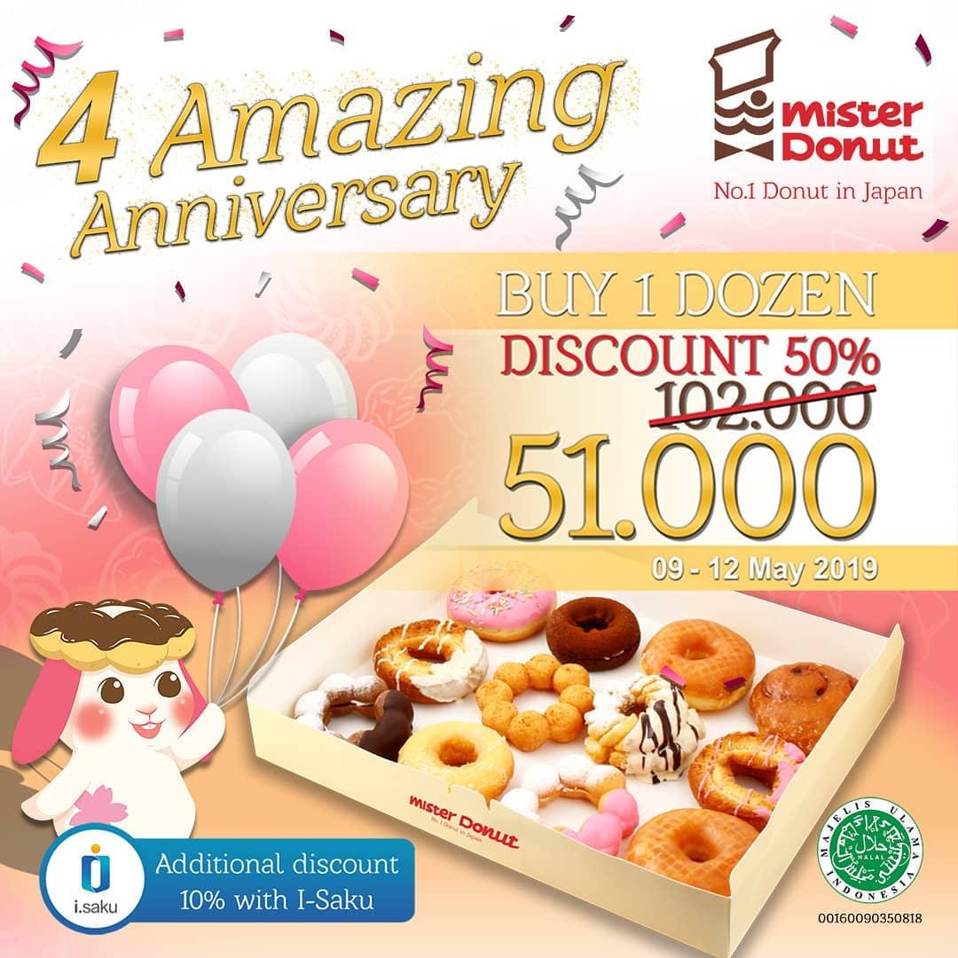 Mister Donut Promo DISKON 50% untuk Paket 1 Lusin Donuts