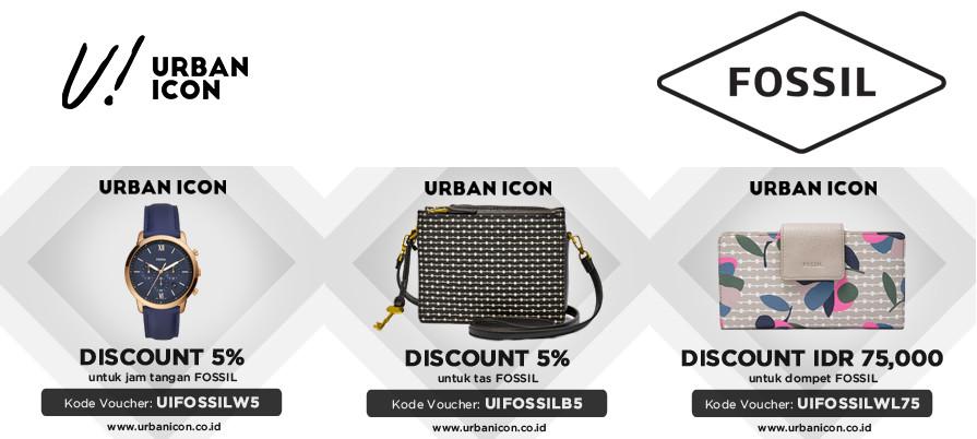 Diskon URBAN ICON Promo FOSSIL Discount sampai 7%  dan Discount IDR 75.000 untuk Dompet