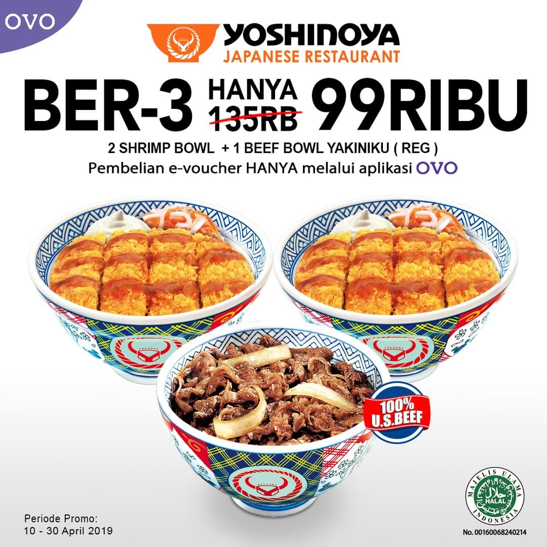 YOSHINOYA Promo PAKET MAKAN BER-3 HANYA RP. 99RIBU