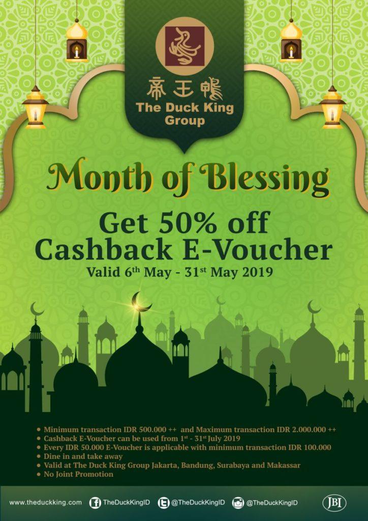 THE DUCK KING MONTH OF BLESSING Dapatkan Cashback E-Voucher hingga 1 Juta