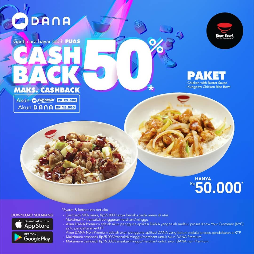 Diskon RICE BOWL Promo Cashback 50% dengan DANA