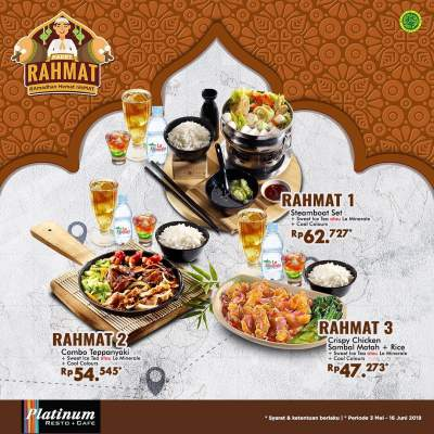 Diskon PLATINUM RESTO Promo Paket Rahmat Harga mulai Rp. 47.273