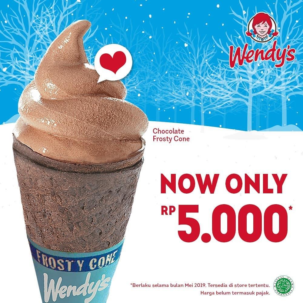 Wendy's Harga Spesial Chocolate Frosty Cone Hanya Rp. 5.000