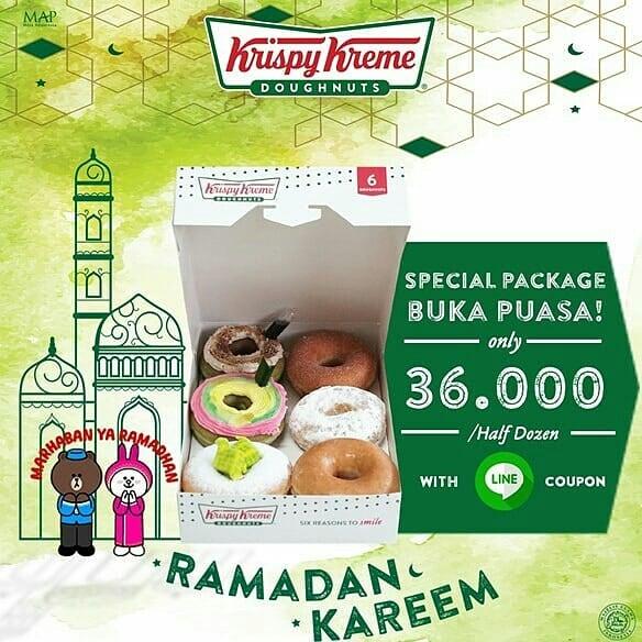 Diskon Krispy Kreme Harga Spesial stengah lusin doughnut 36.000 dengan Kupon LINE