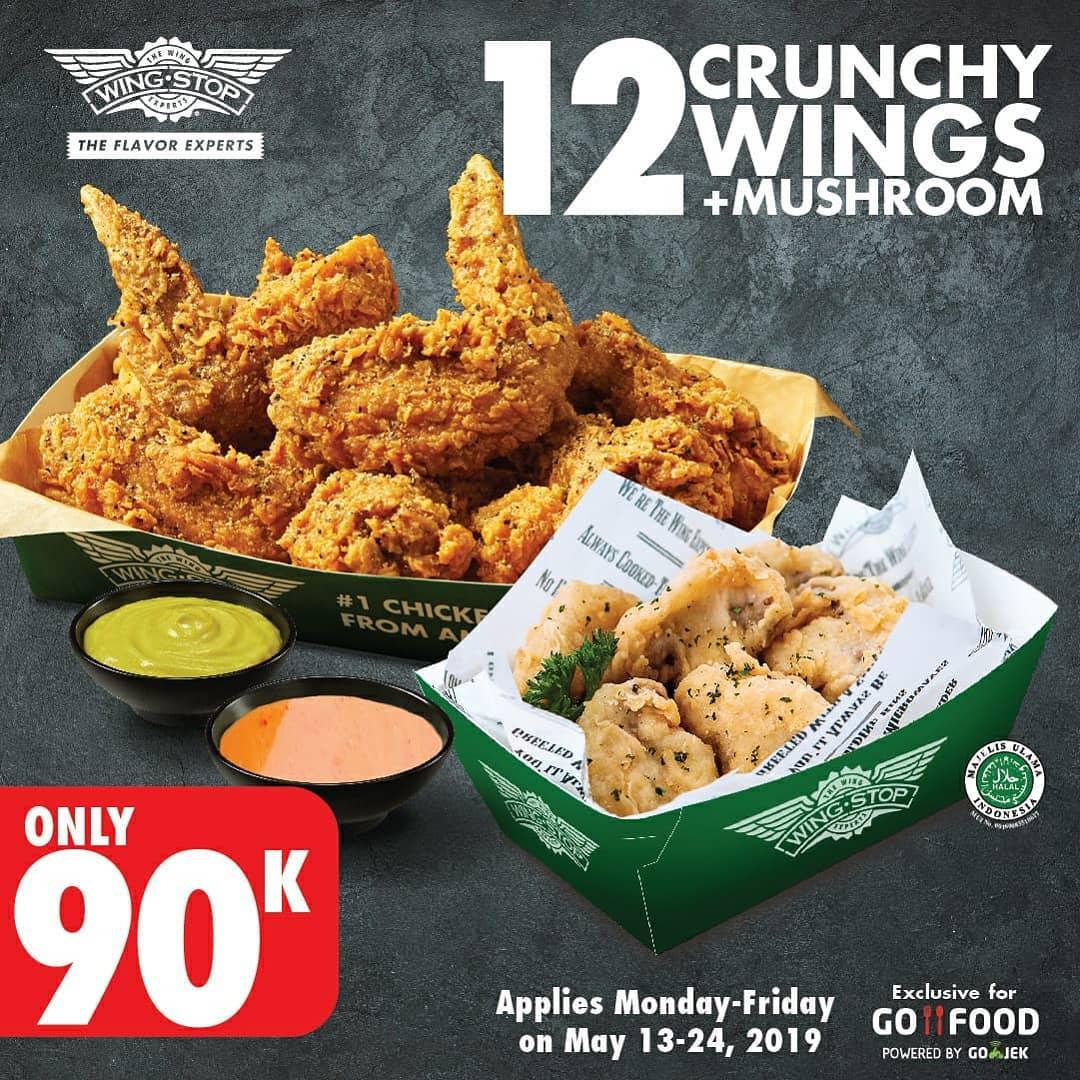 WINGSTOP Spesial 12 Crunchy Wings + Mushroom Fritters hanya Rp. 90.000 dengan GoFood