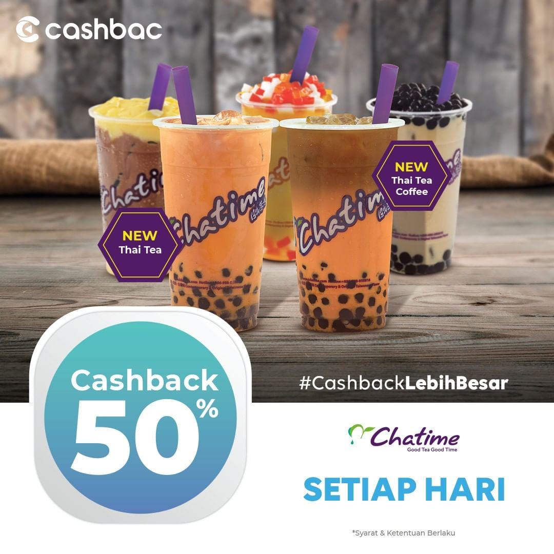 CHATIME Promo CASHBACK 50% dengan CASHBAC APP