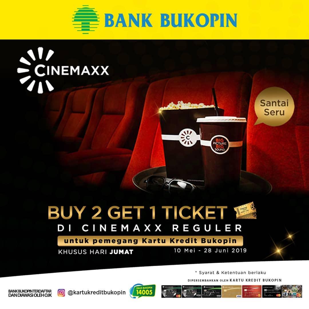 Diskon CINEMAXX Promo Buy 2 Get 1 Ticket dengan Kartu Kredit Bukopin di Hari Jumat