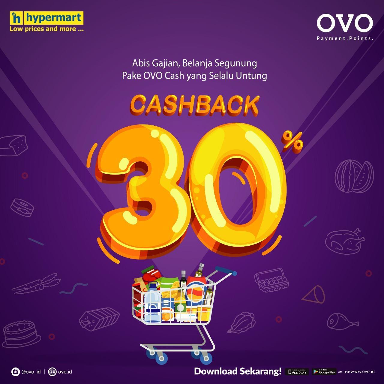 Diskon HYPERMART Promo CASHBACK 30% dengan OVO