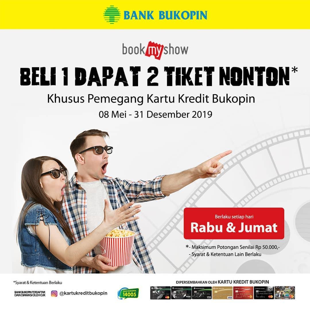 BookMyShow Promo BELI 1 DAPAT 2 Tiket Nonton dengan Kartu Kredit Bukopin