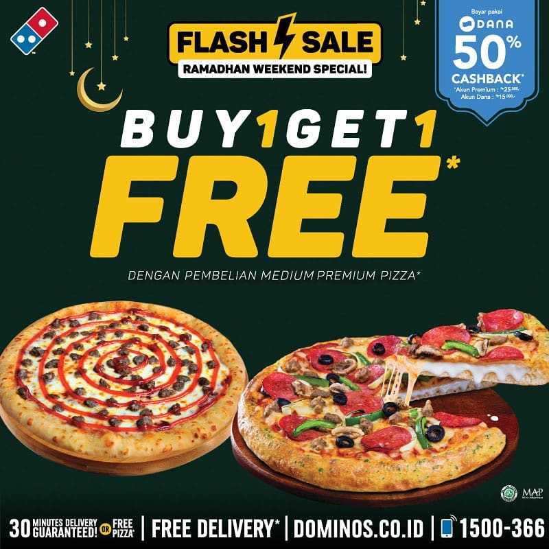 Diskon Domino's Pizza Promo FLASH SALE Ramadhan BUY 1 GET 1 FREE