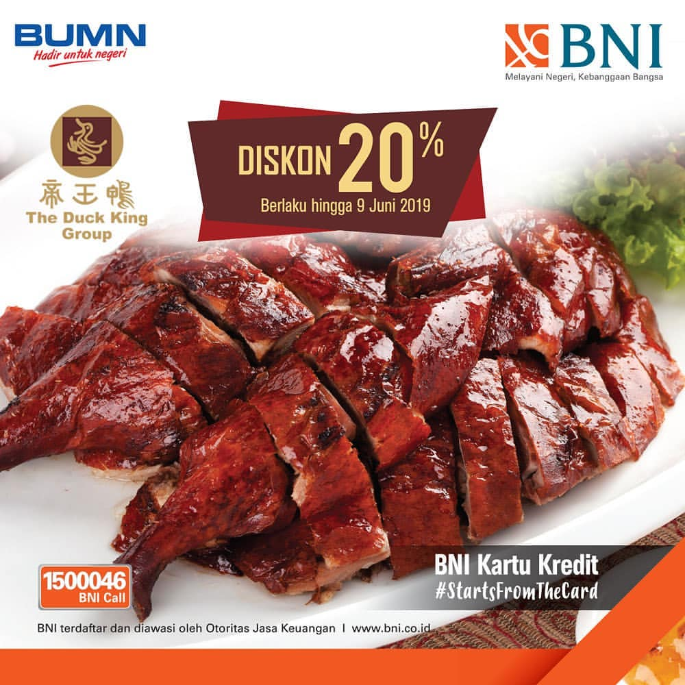 Diskon THE DUCK KING GROUP Promo DISKON 20% dengan KARTU KREDIT BNI