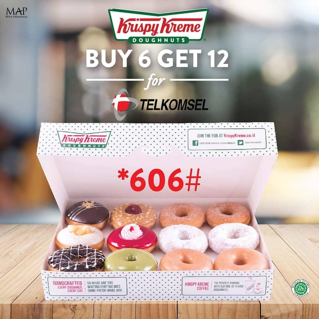 Diskon Krispy Kreme Promo Buy 6 Assorted Get Free 6 Khusus Pengguna Telkomsel