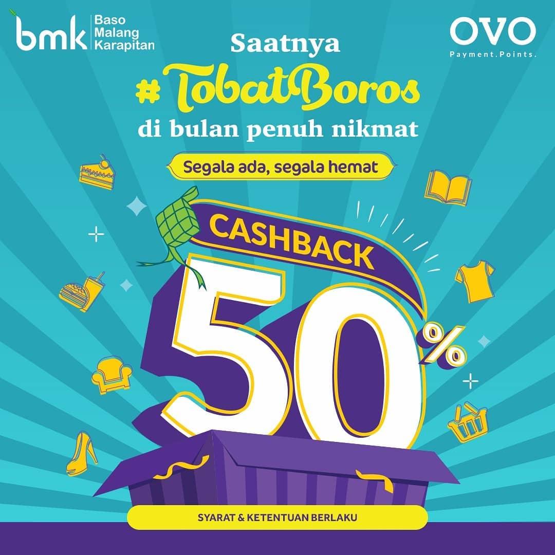 BMK RESTO Promo OVO #TobatBoros Cashback 50% dengan OVO