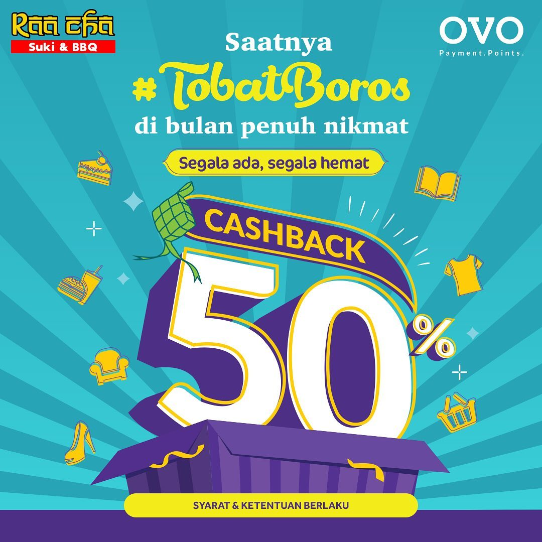Raa Cha Promo #TobatBoros CASHBACK 50% dengan OVO