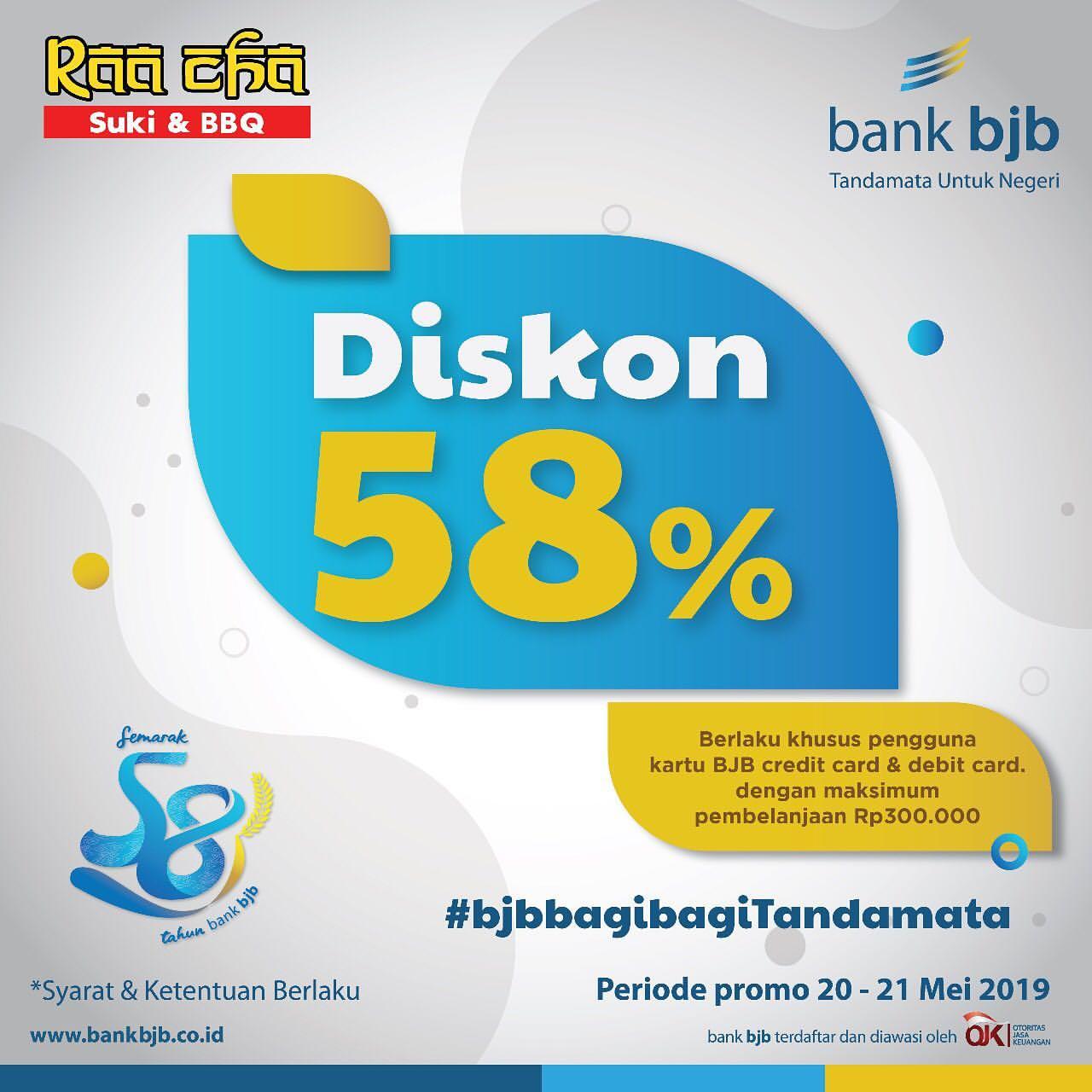 Raa Cha Promo Diskon 58% dengan Kartu Debit dan Kartu Kredit Bank BJB
