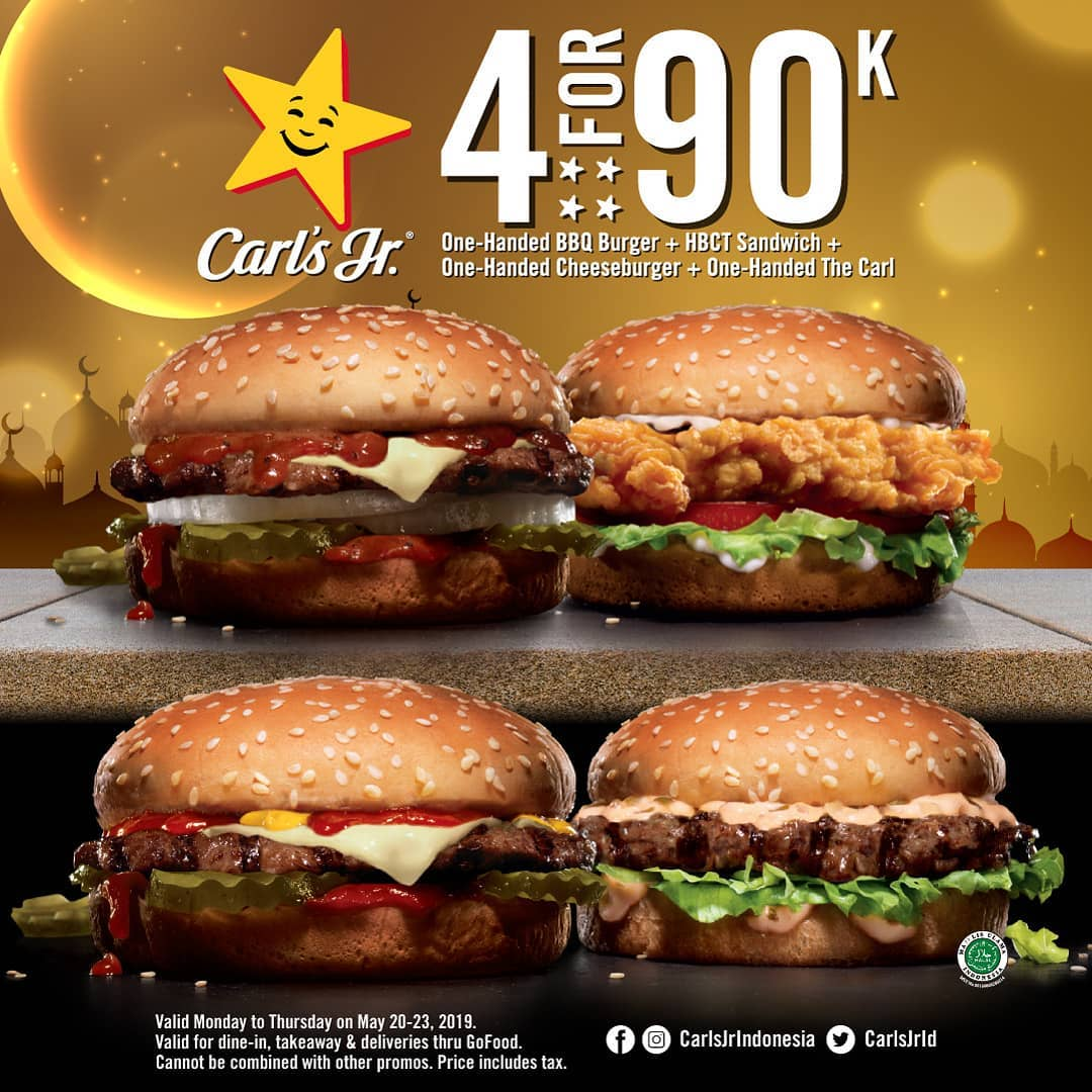 Diskon Carls Jr Promo 4 Burger hanya Rp.90.000