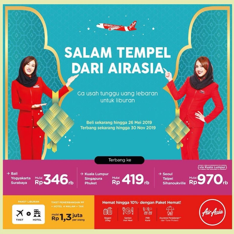 Diskon AirAsia Promo Salam Tempel – Terbang ke Kuala Lumpur atau Singapura étau Phuket mulai Rp.419.000