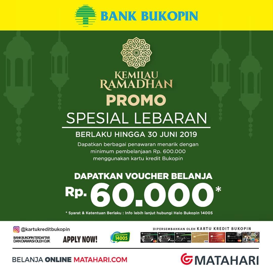 Matahari Department Store Promo GRATIS Voucher Belanja Rp.60.000 dengan Kartu Kredit BUKOPIN