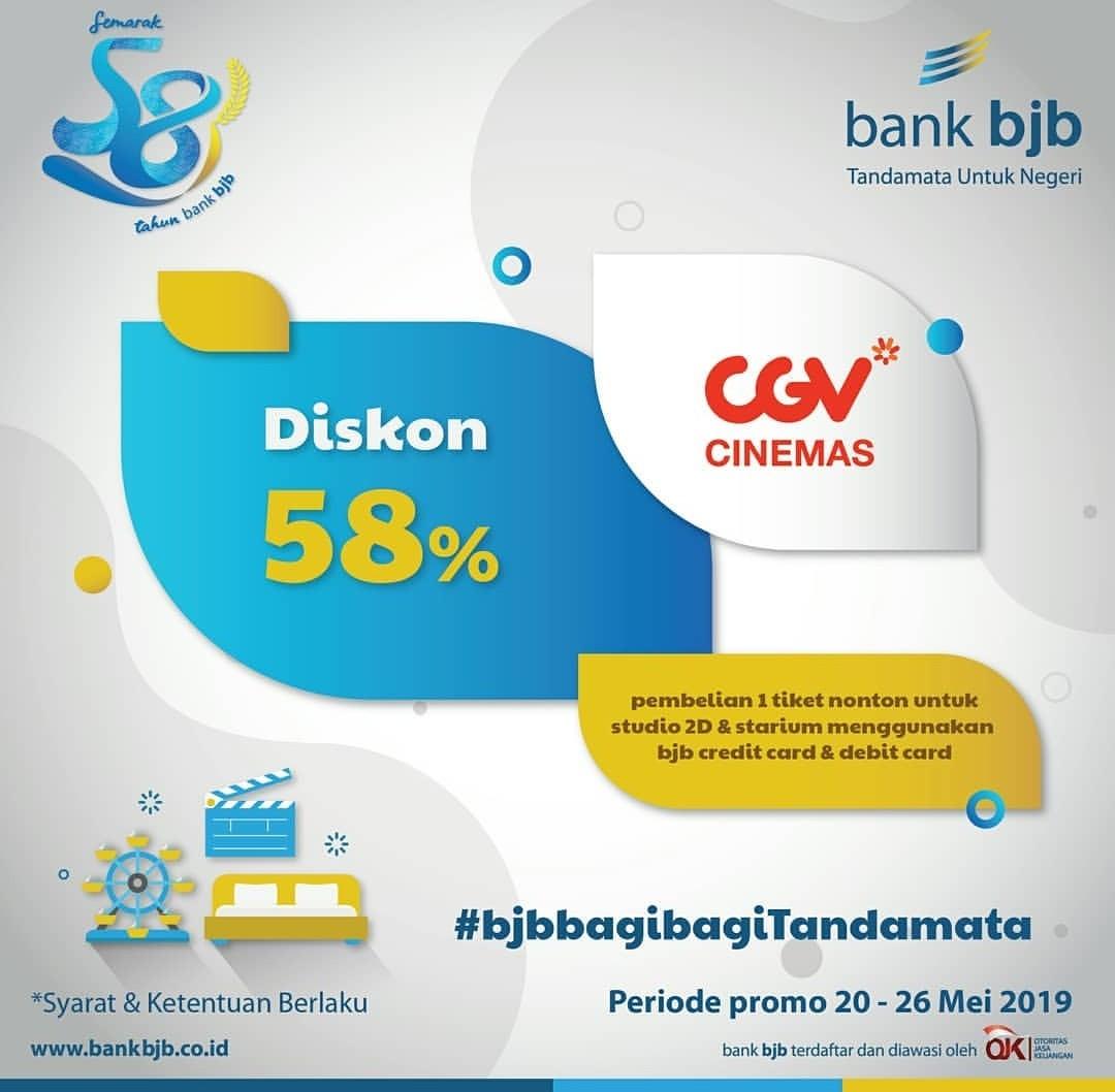 CGV Promo Diskon 58% untuk Tiket Nonton dengan Debit atau Kredit Bank BJB