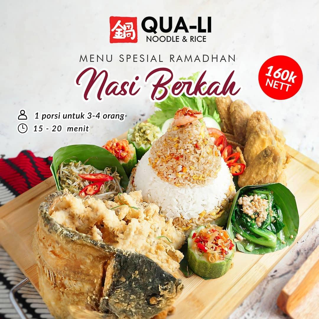 QUA-LI Noodle & Rice Promo Menu Spesial Ramadhan Nasi Berkah Rp. 160.000 nett