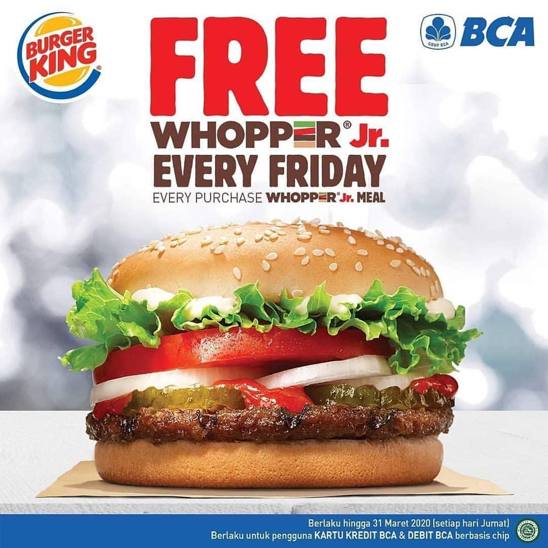 BURGER KING Promo BELI 1 GRATIS 1 untuk Whopper Jr. dengan Kartu BCA