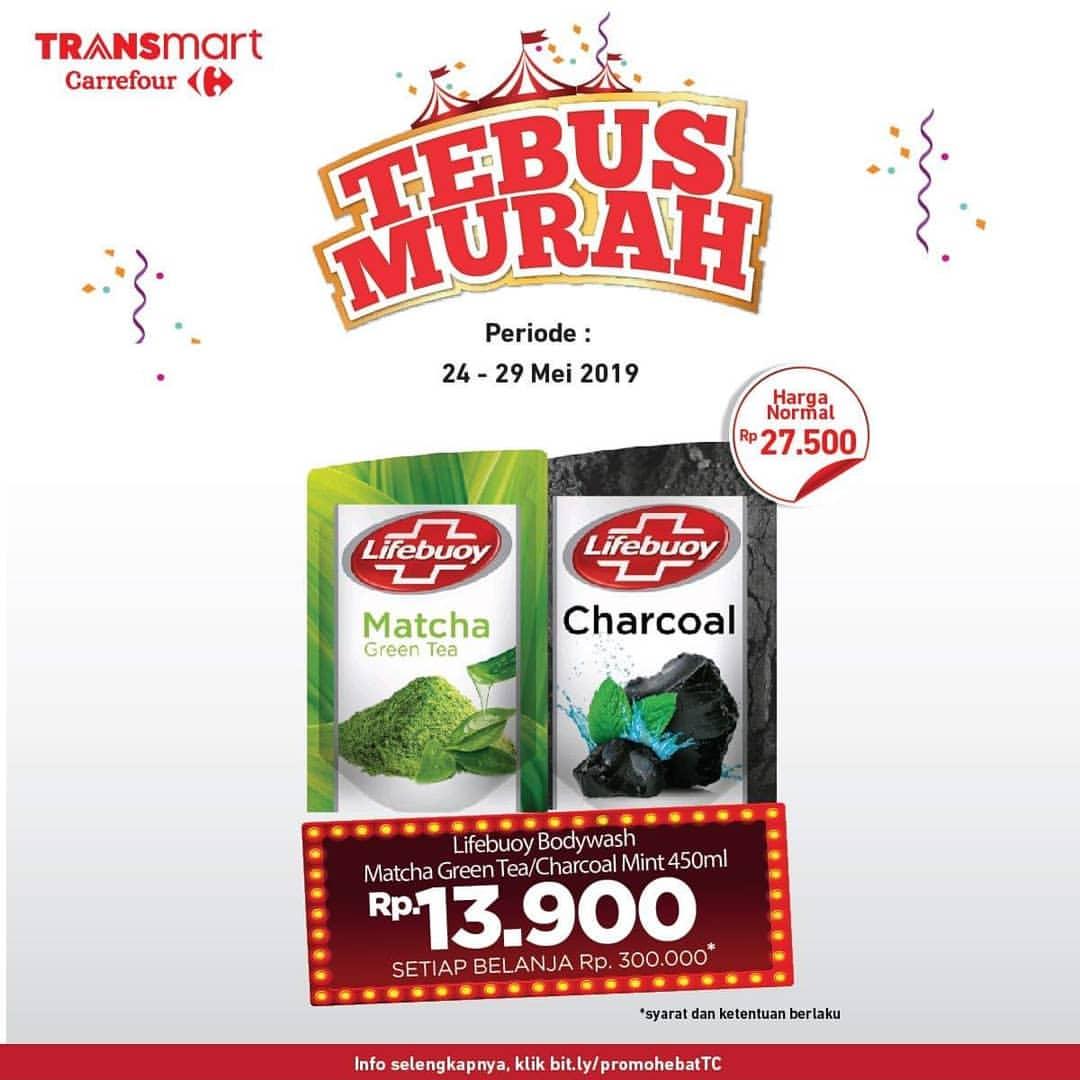 TRANSMART CARREFOUR Promo Tebus Murah Lifebuoy Bodywash Matcha Green Tea atau Charcoal Mint 4500ml H