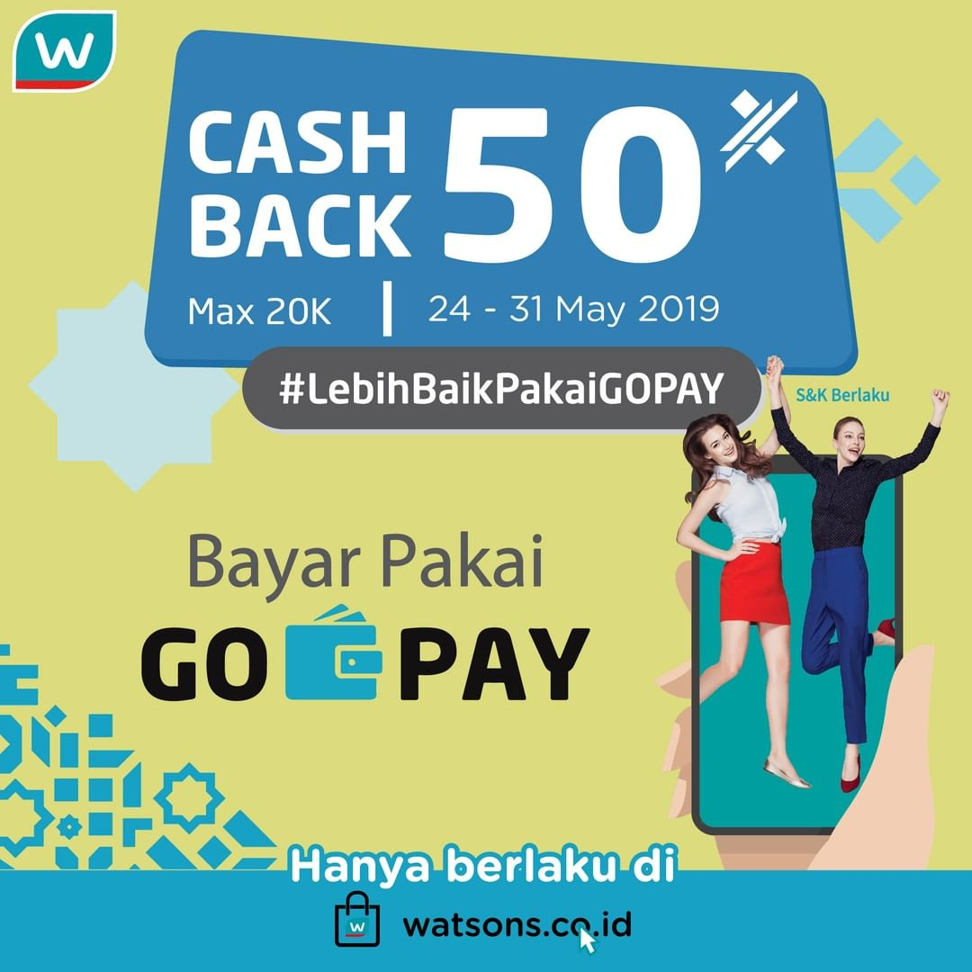 WATSONS ONLINE Promo Cashback 50% dengan GOPAY