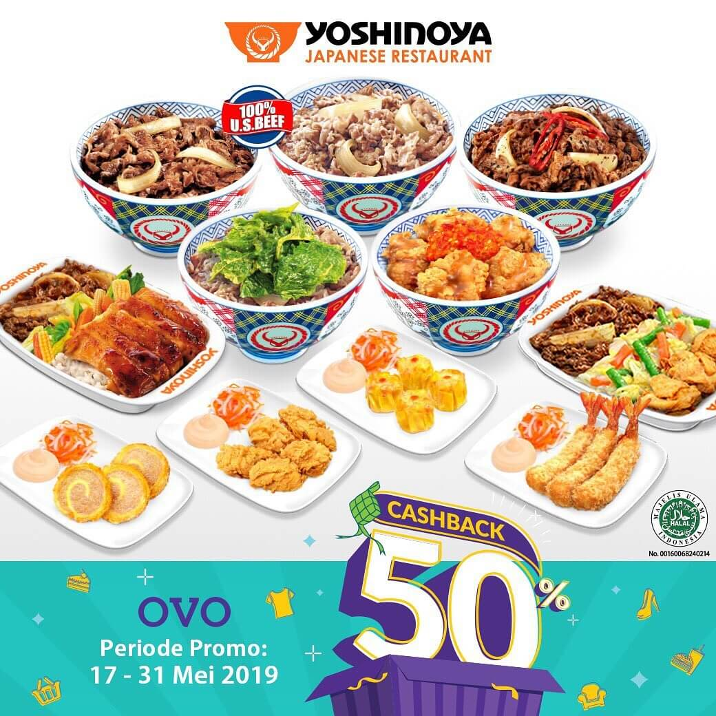 Yoshinoya Promo Cashback 50% untuk transaksi dengan OVO