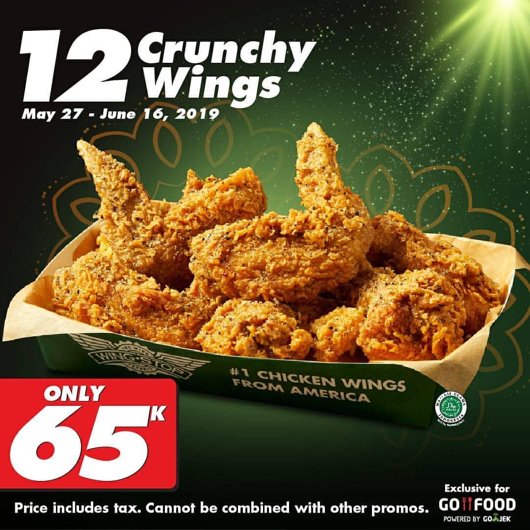 Wingstop 12 Crunchy Wings hanya Rp.65.000 khusus pemesanan via GoFood
