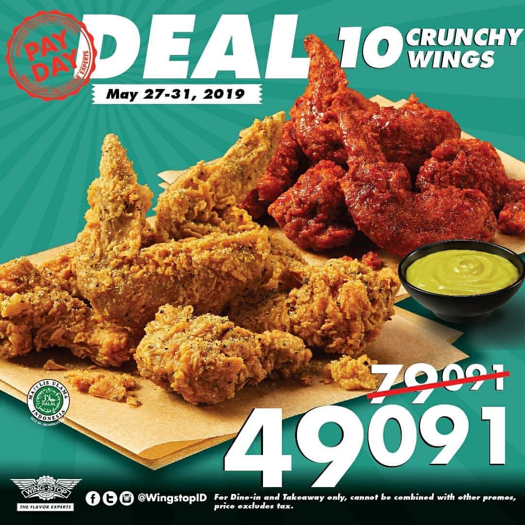 Diskon Wingstop PayDay Deal Paket 10 Crunchy Wings Hanya Rp.49.091