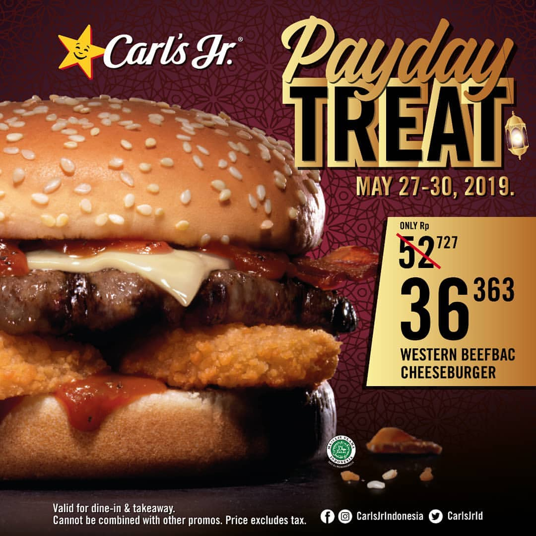 Carls Jr Promo Payday Treat Western Beefbac Cheeseburger Rp.36.363