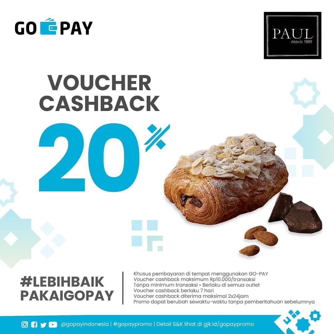 PAUL Promo CASHBACK 20% dengan GOPAY
