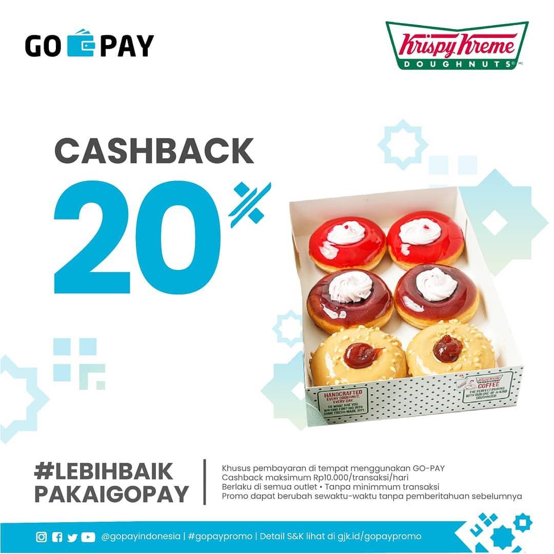 Diskon Krispy Kreme Promo Cashback 20% dengan GO-PAY