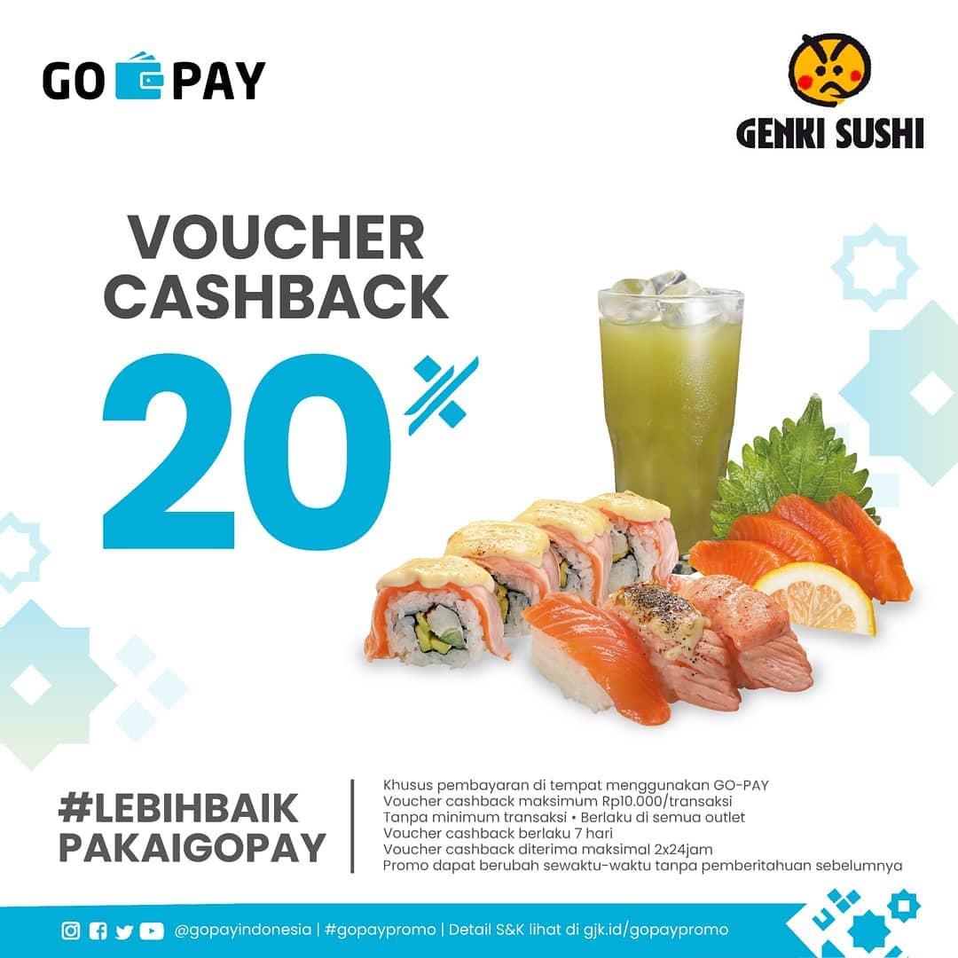 Genki Sushi Promo Voucher Cashback 20% dengan GOPAY