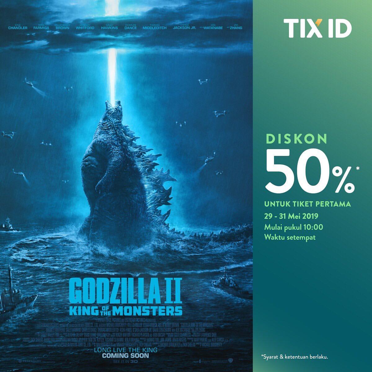 """TIX.ID Promo Diskon 50% Untuk Tiket Pertama Film """"Godzilla II : King of The Monsters"""""""