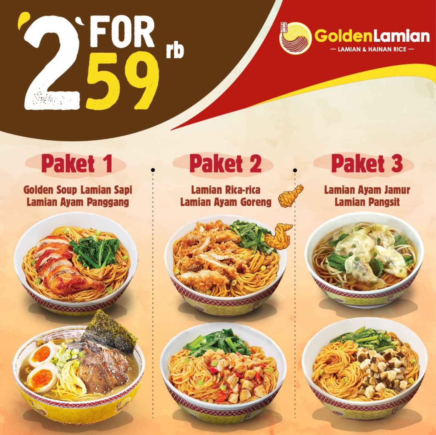 Golden Lamian Promo Paket 2 Menu Hanya Rp.59.000 dengan Kupon LINE