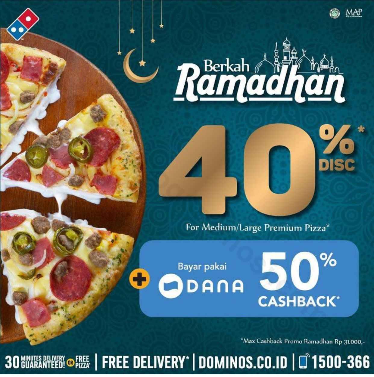 Diskon Domino Pizza Promo Ramadhan, Diskon 40% Off
