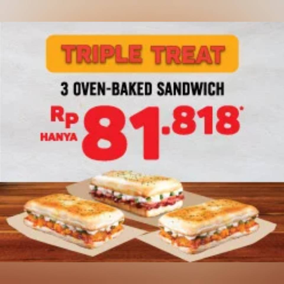 Domino Pizza Promo Triple Treat Oven Backed Sandwich, Harga Rp.81.818