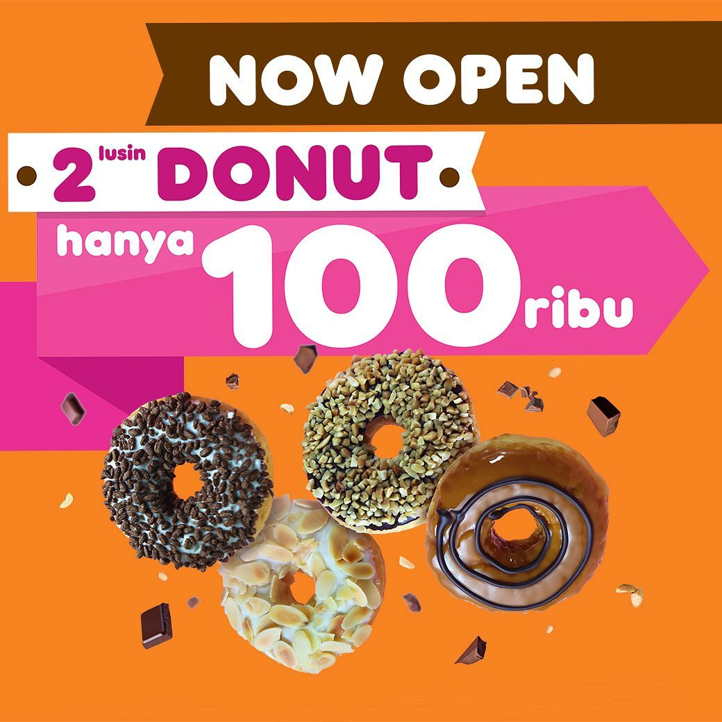 Dunkin Donuts Promo Spesial Grand Opening, Beli 2 Lusin Cuma Rp.100.000