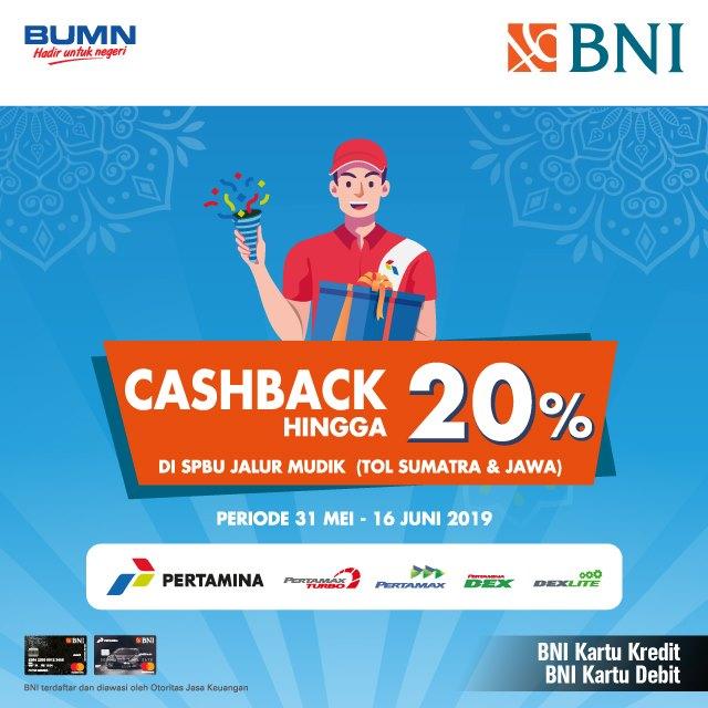 CASHBACK hingga 20% di SPBU Jalur Mudik Tol Jawa dan Sumatera dengan Kartu Kredit dan Debit BNI