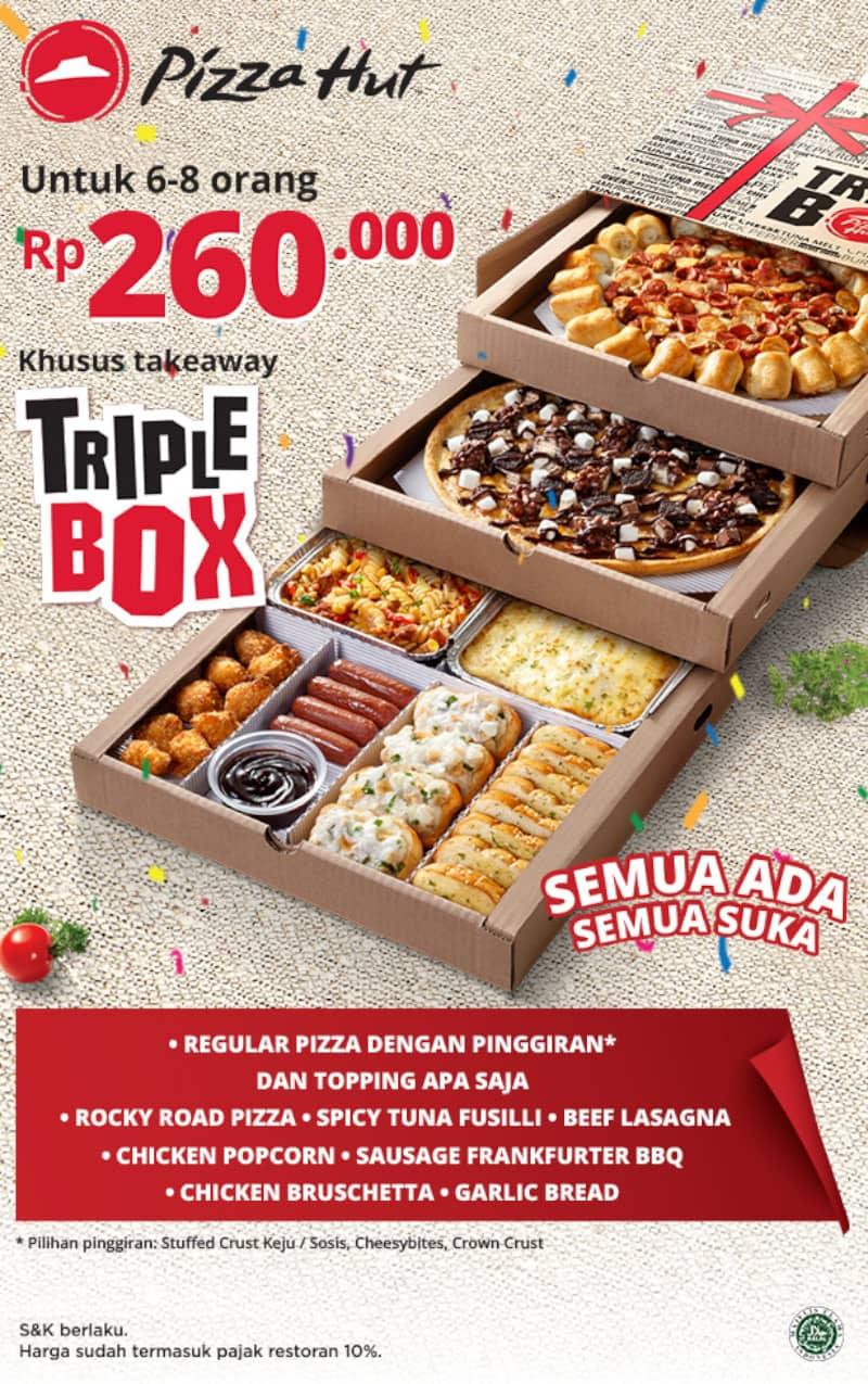 Diskon PIZZA HUT TRIPLE BOX Paket Pizza dengan 3 Tingkat Pas Buat Rame-Rame