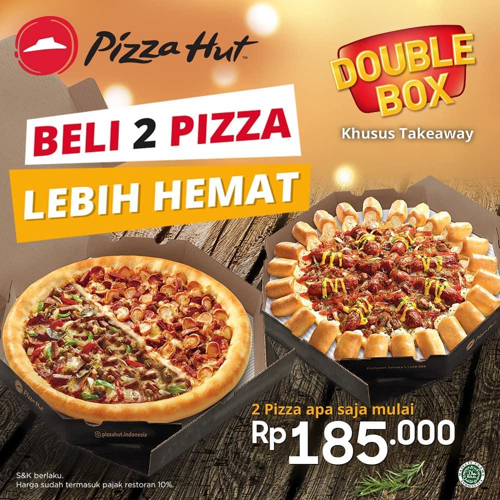 Diskon PIZZA HUT Double Box Beli Dua Pizza Lebih Hemat Harga Mulai Rp.185.000