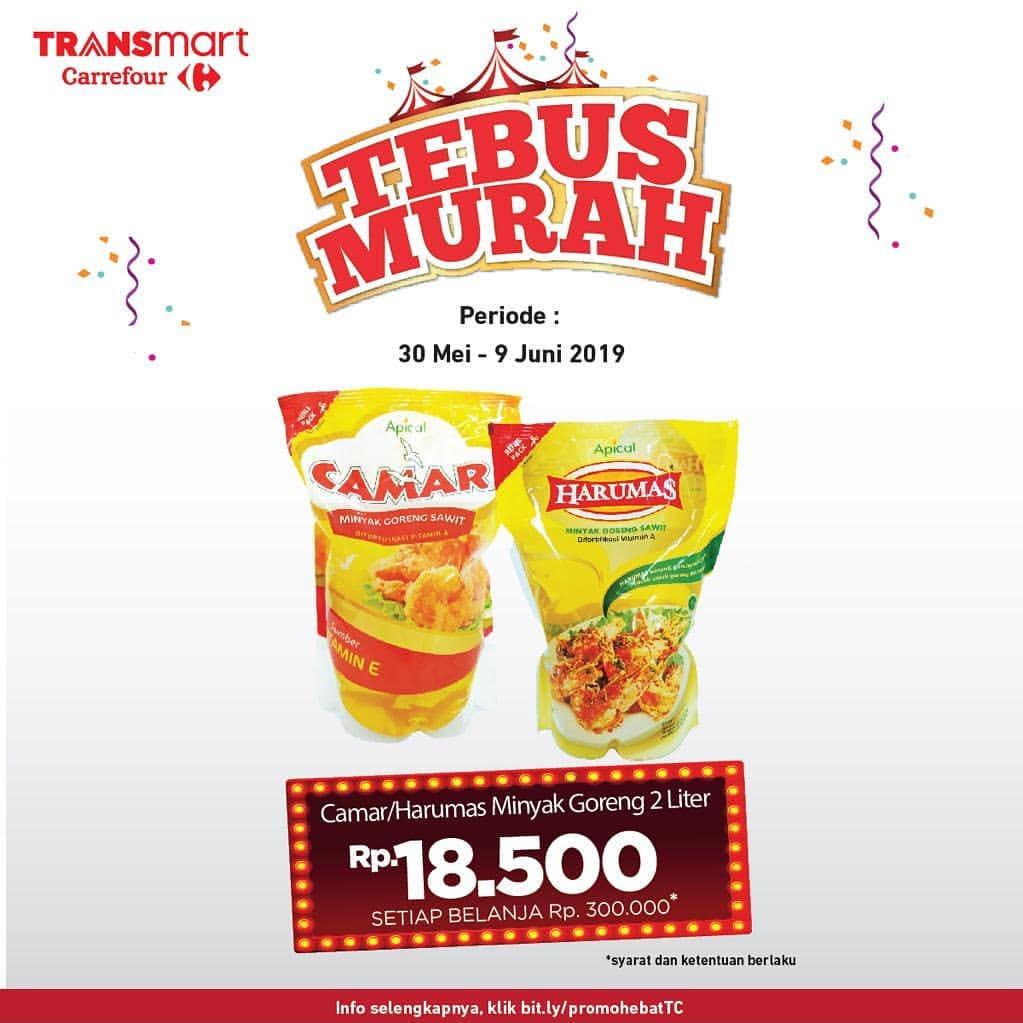 TRANSMART CARREFOUR Promo Tebus Murah Camar/Harumas Minyak Goreng 2Lt Hanya Rp.18.500